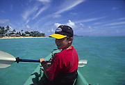 Boy kayaking, Kanikai, Oahu, Hawaii<br />