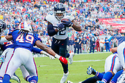 Tennessee Titans Running Back Derrick Henry (22) leaps into the end zone during a game between The Buffalo Bills and The Tennessee Titans at Nissan Stadium in Nashville, TN on October 6, 2019