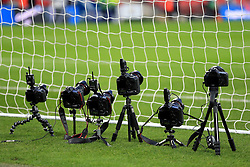 Remote cameras positioned behind the goal at Wembley Stadium