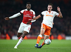 October 31, 2018 - London, England, United Kingdom - London, UK, 31 October, 2018.L-R Danny Welbeck of Arsenal and Blackpool's Ben Heneghan .During Carabao Cup fourth Round between Arsenal and Blackpool at Emirates stadium , London, England on 31 Oct 2018. (Credit Image: © Action Foto Sport/NurPhoto via ZUMA Press)