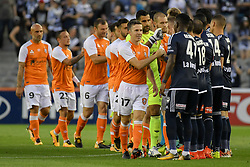 November 11, 2017 - Melbourne, Victoria, Australia - Players shake hands prior to the round six match of the A-League between Melbourne Victory and Brisbane Roar at Etihad Stadium, Melbourne, Australia. Melbourne drew 1-1 (Credit Image: © Sydney Low via ZUMA Wire)