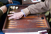 Men play backgammon in the Telegraph Cafe, off Halim Square, Cairo, Egypt