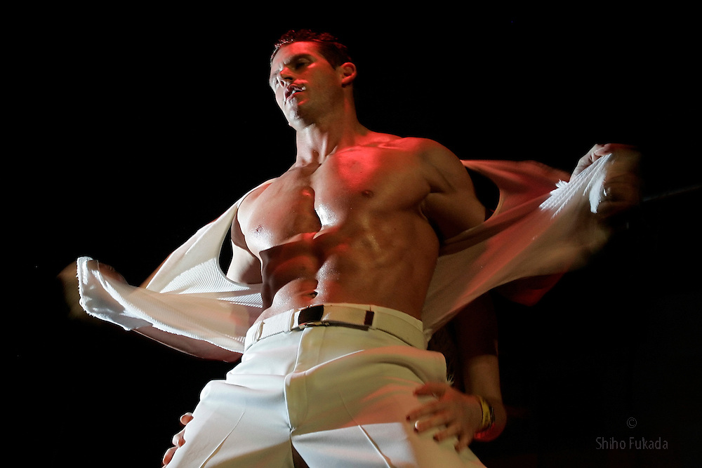 Male stripper Mat performs during the Hunk Mania show in New York.