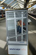 Crime prevention poster at railway station warning of consequence of criminal activity on the rail system.