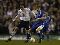 Photo: Olly Greenwood.<br />Tottenham Hotspur v Cardiff City. The FA Cup. 17/01/2007. Cardiff's Glen Loovens and Tottenham's Dimitar Berbatov