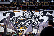 LAFC fans in the 3252 section display banner during a MLS soccer match against the Sporting KC in Los Angeles, Sunday, March 3, 2019. LAFC defeated Sporting KC, 2-1. (Ed Ruvalcaba/Image of Sport)