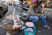20 FEBRUARY 2008 -- KANCHANABURI, THAILAND: A fish seller with her wares in the market in Kanchanaburi, Thailand.  Photo by Jack Kurtz