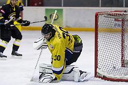 Rok Stojanovic #30 of HK ECE Celje during Inter National League ice hockey match between HK Playboy Slavija and HK ECE Celje, on September 30, 2015, in Ledena Dvorana Zalog, Ljubljana, Slovenia. Photo by Urban Urbanc / Sportida