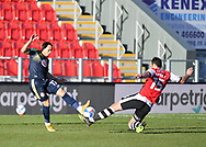 Tom Parkes (15) of Exeter City sliding tackle  during the EFL Sky Bet League 2 match between Exeter City and Stevenage at St James' Park, Exeter, England on 23 January 2021.