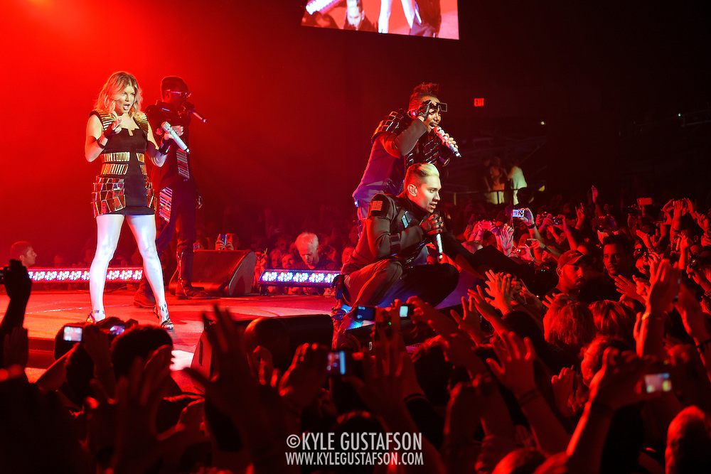 """COLUMBIA, MD - June 9th, 2011: Fergie, Will.I.Am, apl.de.ap and Taboo of the Grammy Award-wining hip-hop group The Black Eyed Peas perform at Merriweather Post Pavilion in Columbia, MD. The group recently released the single """"Don't Stop The Party"""" from their sixth studio album, The Beginning. (Photo by Kyle Gustafson/For The Washington Post)"""