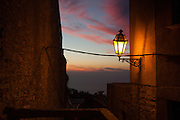 """Sunset and Lamplight, Erice, Sicily. (c) Dave Walsh 2013 This mage can be licensed via Millennium Images. Contact me for more details, or email mail@milim.com For prints, contact me, or click """"add to cart"""" to some standard print options."""
