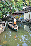 India, Kerala backwaters, primitive transport boats
