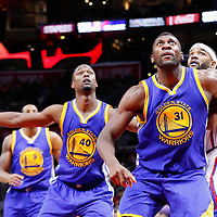 19 November 2015: Golden State Warriors center Festus Ezeli (31) vies for the rebound with Los Angeles Clippers forward Josh Smith (5) and Golden State Warriors forward Harrison Barnes (40) during the Golden State Warriors 124-117 victory over the Los Angeles Clippers, at the Staples Center, Los Angeles, California, USA.