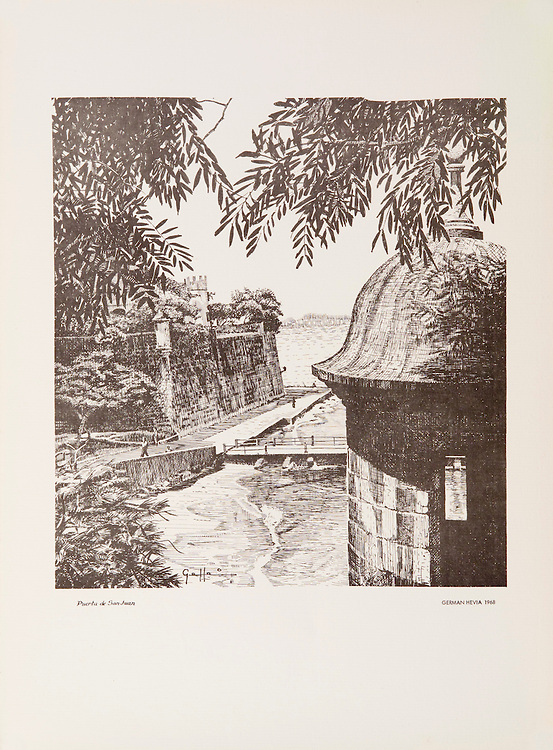 """Cat. #20 -  Lithographic print of Pen and Ink drawing of the old entrance to the city of San Juan, XVI century, seen from the top of the city's wall with one of its embelmatic watch towers in the foreground.This print is part of a set of three views of the city's entrance. Printed on pebbled, heavy weight stock.<br /> Paper size is 11 x 15"""". Image size is approximately 9 x 10 3/4"""" <br /> Cat. #20 - Impresión litográfica de un dibujo a plumilla de la entrada antigua a la ciudad de San Juan, siglo XVI, visto desde la parte superior de la pared de la ciudad, con una de sus garitas en primer plano. Esta impresión es parte de un conjunto de tres vistas de la antigua entrada de la ciudad.<br /> Impreso en papel grueso y textura liviana.<br /> Tamaño del papel es 11 x 15"""". Tamaño de la imagen es aproximadamente  9 x 10 3/4"""""""