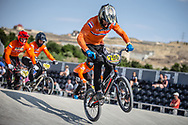 #290 during practice at the 2018 UCI BMX World Championships in Baku, Azerbaijan.