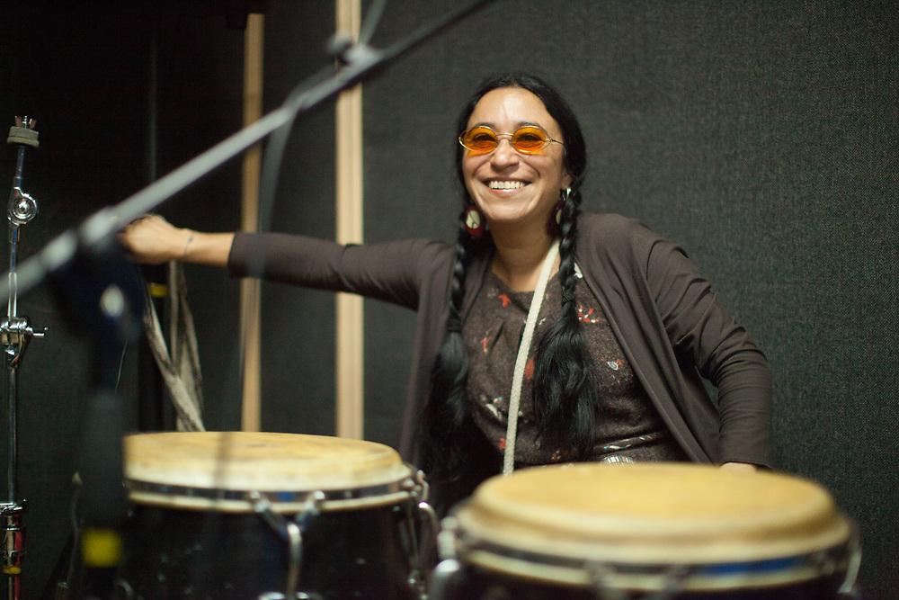 Natalia Pazos Alvarez, drummer in the Latin American rock band Los Aterciopelados practicing in Bogota, Colombia.