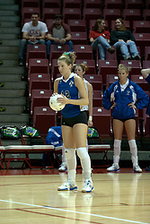 20 November 2004....Lindsay Patterson readies to serve....Illinois State University Redbirds V Drake Bulldogs Women's Volleyball.  Redbird Arena, Illinois State University, Normal IL