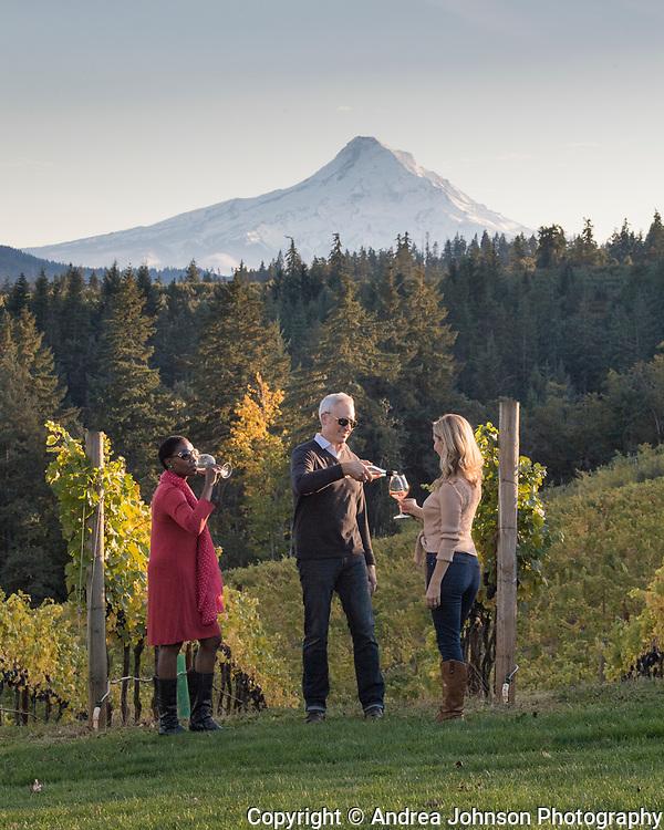 Winetasting at Phelps Creek Vineyard with Mt. Hood in the background, Hood River, Oregon