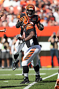 Leaping Cincinnati Bengals linebacker Carl Lawson (58) leaps and congratulates Cincinnati Bengals defensive tackle Geno Atkins (97) celebrate after the Bengals stop a Cleveland Browns third down pass play forcing a first quarter punt during the 2017 NFL week 4 regular season football game against the against the Cleveland Browns, Sunday, Oct. 1, 2017 in Cleveland. The Bengals won the game 31-7. (©Paul Anthony Spinelli)