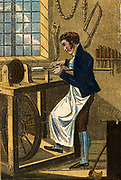 'The Turner  shaping a piece of wood on a  treadle operated lathe.  Hand-coloured woodcut from ''The Book of English Trades'', London, 1823.'