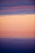 Farallon Islands seen twenty miles off shore, from Bolinas Ridge on Mt. Tamalpais, Marin County, California
