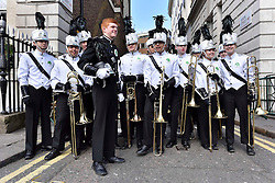 Students from Coppell High School in Texas take part in the parade along Piccadilly to celebrate St. Patrick's Day in London, Britain, on March 13, 2016. EXPA Pictures © 2016, PhotoCredit: EXPA/ Photoshot/ Ray Tang<br /> <br /> *****ATTENTION - for AUT, SLO, CRO, SRB, BIH, MAZ, SUI only*****