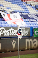 Bolton Wanderers corner flag. The EFL Sky Bet League 2 match between Bolton Wanderers and Cheltenham Town at the University of  Bolton Stadium, Bolton, England on 16 January 2021.