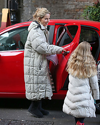© Licensed to London News Pictures. 12/10/2015. London, UK. Actress Sally Phillips rehearses a scene with Renee Zellwegger (unseen) in the movie Bridget Jones Diary in Borough Market. Photo credit: Peter Macdiarmid/LNP