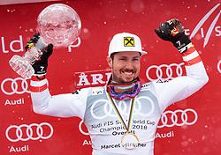 THEMENBILD - Skistar Marcel Hirscher gibt am 4. September seine Zukunftspläne in Salzburg bekannt. Seit seinem ersten Weltcupsieg 2009 in Val d'Isere gewann er den Gesamtweltcup siebenmal in Folge und steht derzeit bei insgesamt 68 Siegen. Damit zählt er zu den erfolgreichsten Skirennläufern der Geschichte. Hier im Bild: Marcel Hirscher (AUT) mit der Kristallkugel für den Sieg im Gesamtweltcup, Saison 2017/2018 // Ski star Marcel Hirscher announces his plans for the future in Salzburg on 4 September. Since winning his first World Cup victory in Val d'Isere in 2009, he has won the overall World Cup seven times in a row and currently has a total of 68 victories. He is one of the most successful ski racers in history. Here in the picture: Marcel Hirscher (AUT) with the crystal ball for the victory in the overall World Cup season 2017/2018. EXPA Pictures © 2019, PhotoCredit: EXPA/ Johann Groder