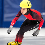 March 18, 2016 - Verona, WI - Jenell Berhorst, skater number 110 competes in US Speedskating Short Track Age Group Nationals and AmCup Final held at the Verona Ice Arena.
