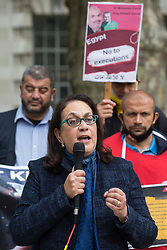 London, UK. 3rd July, 2021. Dr Maha Azzam, head of the Egyptian Revolutionary Council, addresses anti-coup activists protesting opposite Downing Street against political executions in Egypt on the 8th anniversary of the Egyptian military coup against President Mohamed Morsi. 92 political prisoners have been executed in Egypt since the coup, with death sentences ratified by General Abdel Fattah el-Sisi for a further 64.