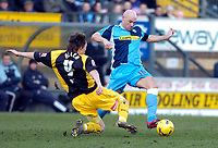 Photo: Alan Crowhurst.<br />Wycombe Wanderers v Stockport County. Coca Cola League 2. 28/01/2006. <br />Tommy Mooney (R) goes round Damien Allen of Stockport.