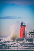 High winds sent big waves crashing into the South Haven lighthouse