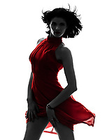one  fashion model sexy woman in red dress in silhouette studio isolated on white background