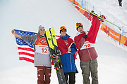 Nick Goepper, USA, SILVER with Oystein Braaten Norway, GOLD and Alex Beaulieu-Marchand, Canada, BRONZE at thePyeongchang 2018 Winter Olympics men's freestyle ski slopestyle flower ceremony on February 18th 2017, at the Phoenix Snow Park inPyeongchang-gun, South Korea.