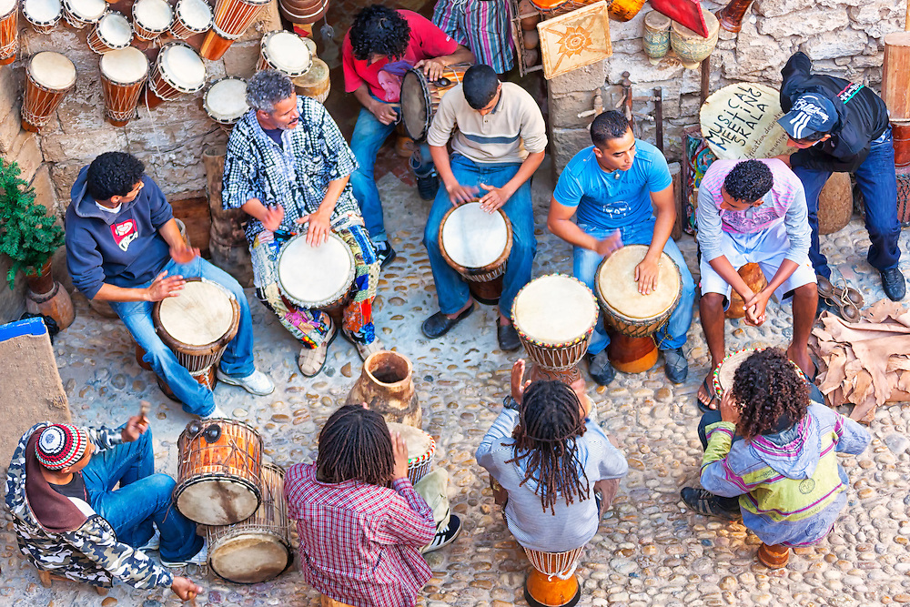 A groupe of men playing drums in Essaouira.
