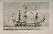 19th century Woodcut print on paper of the Soleil Royal (Royal Sun) a French 104-gun ship of the line, flagship of Admiral Tourville.  from L'art Naval by Leon Renard, Published in 1881