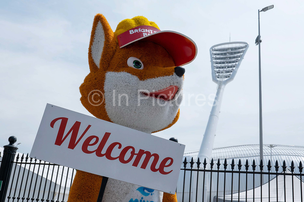 The European Games mascot, Lesik the baby fox, at the Dinamo Stadium on the 20th June 2019 in Minsk in Belarus. The 2nd European Games is held in Minsk, Belarus from the 21st June to the 30th June.