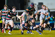 Sale Sharks scrum-half Faf De Klerk tackles Leicester Tigers wing Nemani Nadolo during a Gallagher Premiership Round 7 Rugby Union match, Friday, Jan. 29, 2021, in Leicester, United Kingdom. (Steve Flynn/Image of Sport)