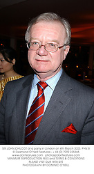 SIR JOHN CHILCOT at a party in London on 4th March 2003.PHN 8