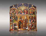 Gothic altarpiece of Saint Esteve (Stephen) & John the Baptist by Mestre de Bardalona, early 15th century, tempera and gold leaf on for wood from Santa Maria de Badalona.  National Museum of Catalan Art, Barcelona, Spain, inv no: MNAC   15824. Against a light grey background. . .<br /> <br /> If you prefer you can also buy from our ALAMY PHOTO LIBRARY  Collection visit : https://www.alamy.com/portfolio/paul-williams-funkystock/gothic-art-antiquities.html  Type -     MANAC    - into the LOWER SEARCH WITHIN GALLERY box. Refine search by adding background colour, place, museum etc<br /> <br /> Visit our MEDIEVAL GOTHIC ART PHOTO COLLECTIONS for more   photos  to download or buy as prints https://funkystock.photoshelter.com/gallery-collection/Medieval-Gothic-Art-Antiquities-Historic-Sites-Pictures-Images-of/C0000gZ8POl_DCqE