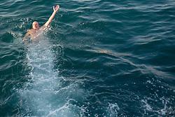 Ivo Daneu during exhibition match between Croatia, Italy and Slovenia at Eurobasket 2013 promotion Basketball on sea raft on August 24, 2013, Koper, Slovenia. (Photo by Matic Klansek Velej / Sportida.com)