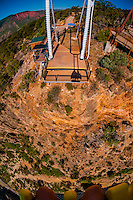 View off of the Giant Canyon Swing (looking 1,300 feet down a cliff to the Colorado River below), Glenwood Caverns Adventure Park, Glenwood Springs, Colorado USA