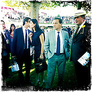 Longchamp Race course, Paris, France. .October 2nd 2011..Qatar Prix de l'Arc de Triomphe..The most competitive mile and half race in the world..Eric Besson et sa femme Yasmina Tordjman...