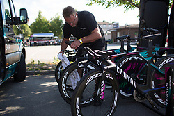 CANYON//SRAM Racing mechanic Jochen Lamade prepares the team bikes for the Crescent Vargarda - a 42.5 km team time trial, starting and finishing in Vargarda on August 11, 2017, in Vastra Gotaland, Sweden. (Photo by Balint Hamvas/Velofocus.com)