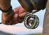 Fly reel with fly fisherman waiting for a strike.