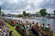 Henley-On-Thames, Berkshire, UK.,Sunday, 15.08.21,   Looking across Steward towards the progree Board and Phylis Court Club, 2021 Henley Royal Regatta, Henley Reach, River Thames, Thames Valley,  [Mandatory Credit © Peter Spurrier/Intersport Images], Finals' Day,