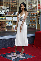 LOS ANGELES, May 4, 2018  American actress Zoe Saldana attends her Hollywood Walk of Fame Star Ceremony in Los Angeles, the United States, May 3, 2018. Zoe Saldana was honored with a star on the Hollywood Walk of Fame on Thursday. (Credit Image: © Zhao Hanrong/Xinhua via ZUMA Wire)