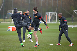 © Licensed to London News Pictures . 06/11/2012 . Manchester , UK . Manchester United players train this morning (6th November 2012) at the club's training facility in Carrington , ahead of their Champions League match against SC Braga in Portugal tomorrow (7th November 2012) . Photo credit : Joel Goodman/LNP