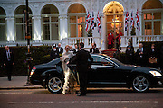 Prince Albert II of Monaco fiancee Charlene Wittstock arrives Gala pre-royal  wedding dinner held at the Mandarin Oriental Hyde Park. LONDON.  on April 28-DO NOT ARCHIVE-© Copyright Photograph by Dafydd Jones. 248 Clapham Rd. London SW9 0PZ. Tel 0207 820 0771. www.dafjones.com.